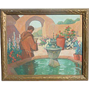 Louise Everett Nimmo (1899 - 1959) listed American artist California Mission Courtyard Monk ..