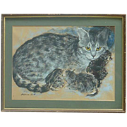 SOLD Patricia Butt pastel drawing of a tabby cat and her kittens cat art painting