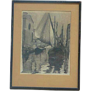 Charcoal drawing of Venice canal and boats dated 1933 signed Thompson