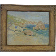 Ruth Farrington (1900 -1978)impressionist oil painting of coastal dunes by listed American New