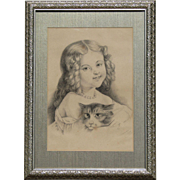 Charcoal drawing portrait of a young Victorian girl holding a cat signed and dated 1889