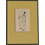 Robert Weil listed American artist original ink drawing of a man with umbrella rainy day