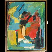 Rita Lipton (1912 -1986) modern mid century abstract oil painting