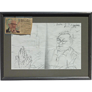 Raul Anguiano (1915 -2006) Mexican art original inscribed pencil portrait drawing of a friend