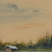 Early 20th Century American watercolor painting of a cabin by a lake in winter
