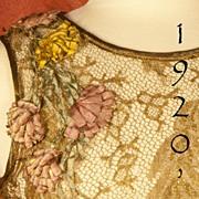 SOLD EXCEPTIONAL 1920's French Gold Metallic Lace Dress & Lamé Slip Dress- Pictured Separ