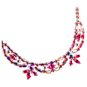 SALE Sherman Fuchsia  Pink Rhinestone Necklace