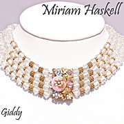 SOLD Early Miriam Haskell Crystal Choker Necklace Exquisite  Clasp