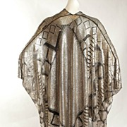 SOLD Grand & Magnificent  Densely Silvered Black Assuit Cocoon Shawl 1920s