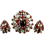 SALE Exceptional Schreiner Brooch Earrings Tiered Japanned