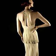 SOLD Exceptional 1930's Beaded Ivory Rayon Crepe Gown Dress