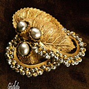 SOLD Finest Miriam Haskell Baroque Pearl  Brooch/Pin