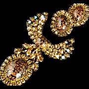 Masterpiece Brooch & Earrings Demi Austria ca 1960s