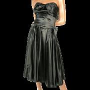 Extraordinary 1950s Black Silk Charmeuse  Dress Small