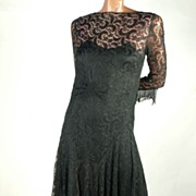 SOLD Sophisticated 1930s Black Lace Dress