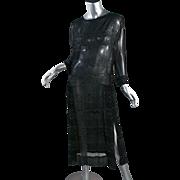 1920's Black Chiffon Faceted Steel Beaded Flapper Dress