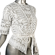 SOLD Exceptional Edwardian White Mixed Lace Eyelet Blouse