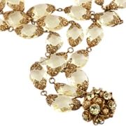 SOLD Miriam Haskell Perfectly Pale Yellow Crystal Necklace 1950's