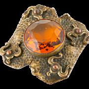 Arts and Crafts Movement Cognac Crystal Brooch
