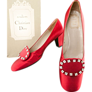 SALE Christian Dior ca 1958 Red Satin Shoes  No 463487