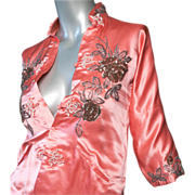 SALE 1950's Custom Made Silk Satin Chinese Jacket
