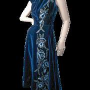 SOLD Layaway...  .1940's Handmade Beaded Velvet Dress *England