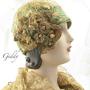 SOLD 1920's Cloche Gold Metallic Embroidery