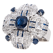 SALE Large 18k White Gold Diamond & Sapphire Ring