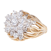 SALE 18k Gold Kwiat Diamond Cluster Ring Vintage