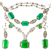 Art Deco Sterling Green Chrysoprase Marcasite Parure