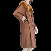 1920's  Silk Ottoman Faille Coat Marabou Collar Hand Tailored Label