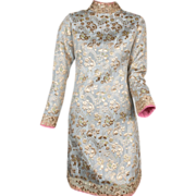 SOLD 1960's Tina Leser Brocade and Metallic Embroidered Dress