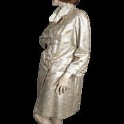 SALE 1960's Silver Lame Ribbon & Golds Wool Coat Saks Fifth Avenue
