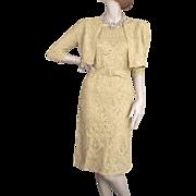 1950's Gold Ribbon Dress & Jacket Exquisite Construction