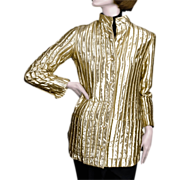 SALE 1960's Jeanne Lanvin Paris Gold Lame Jacket Made in France for I. Magnin
