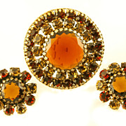 1960's Weiss Cognac & Amber Domed Brooch & Earrings