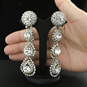 "SOLD Signed Weiss 3 1/2"" Ultimate Rhinestone Shoulder-Duster Earrings 1960's"