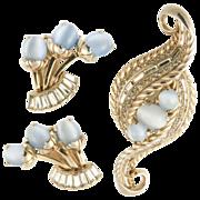 Schiaparelli 1950's Rhinestone & Blue Givre Glass Brooch & Earrings