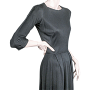 SALE Mainbocher Classic Black Silk Jersey Dress ca 1960