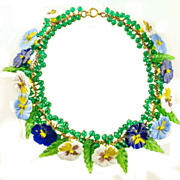 SOLD 1930's Miriam Haskell Pansy Art Glass Necklace *Rare