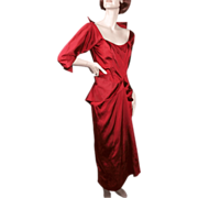 SALE Ceil Chapman Regal Red Silk Faille Cocktail Dress 1950's