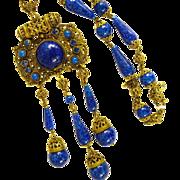 Exquisite Czechoslovakia Necklace Lapis Glass Vintage