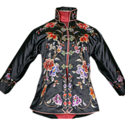 SALE 1930's Chinese Black Embroidered Jacket Handmade
