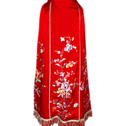 SALE 1930's Chinese Embroidered Wedding Skirt