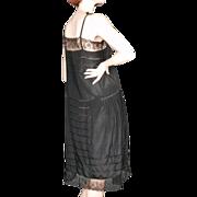 SOLD 1920's Flapper Black Silk Slip Dress Chantilly Lace Amazing Details