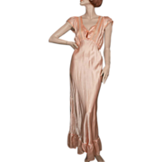 1930's Silk and Rayon Peach Nightgown Superb Details Craft