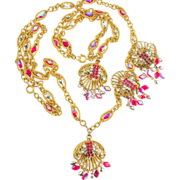 SALE Vintage Hobe Necklace Bracelet Earrings Parure ca 1960