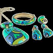 Eisenberg Enamel 1970s Necklace Bracelet Earrings Ring Surrealist Artist Series Set