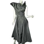 1950's Ceil Chapman Black Taffeta Pleated Dress