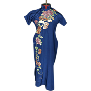 SALE 1940's Chinese Hand Tailored Silk Dress Embroidered Couching Petite